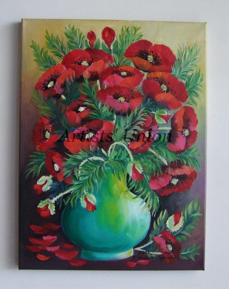 Original Oil Painting Flowers Impression Fine Still Life Red Poppies shabby chic Vase Europe Artist