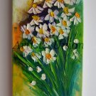 Daisies Original Oil Painting Palette Knife White Flowers Impression Impasto Art Europe Artist