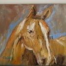 Horse Textured Original Oil Painting Expressionist Animal Portrait Impasto Palette Knife EU Artist