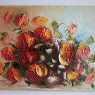 Roses Impression Original Oil Painting Impasto Still life Textured Palette knife Linen Europe Artist