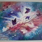 Butterflies Impression Original Oil Painting Impasto Fantasy Purple Pink White Meadow Europe Artist