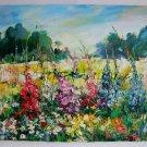 Meadow Delphinium Original Oil Painting Impasto Palette knife art Larkspurs Flowers Europe Artist
