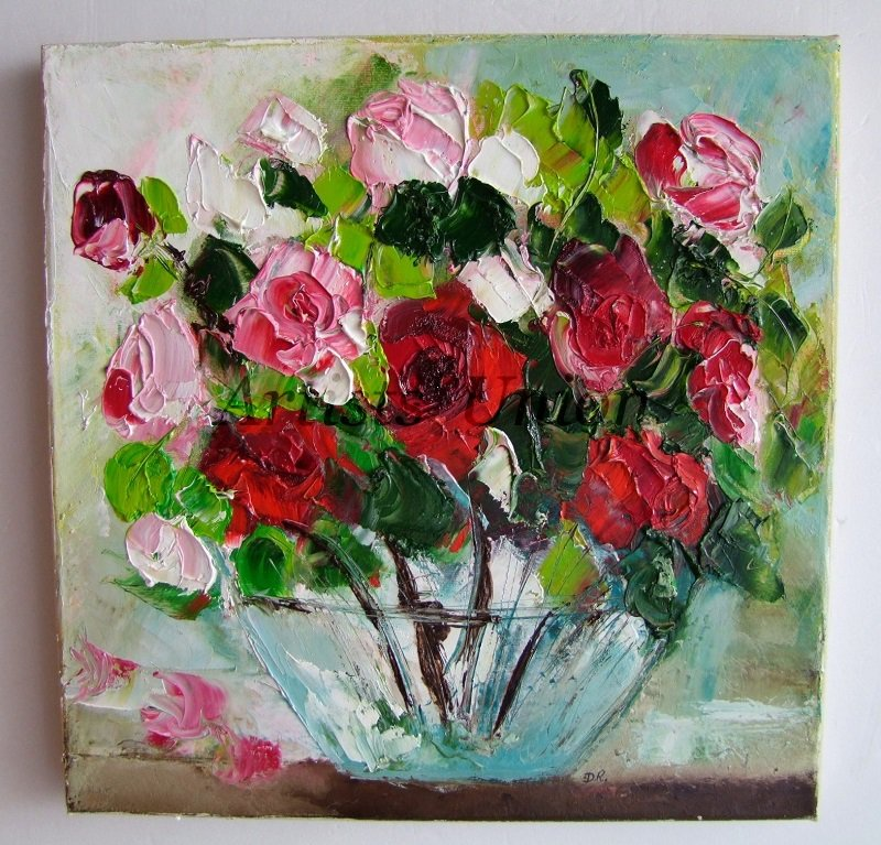 Red pink roses original oil painting impasto still life textured red pink roses original oil painting impasto still life textured flower art glass vase europe artist mightylinksfo