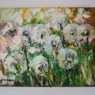 Dandelions Impasto Original Oil Painting Meadow Impression Wild Flower Palette knife Europe Artist