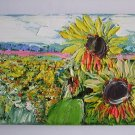 Sunflowers Meadow Original Oil Painting Impasto Palette Knife Landscape Yellow Floral Linen EU Art