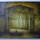 Allegory Original Oil Painting Symbolism Religion GATE River Landscape Impasto Cityscape EU Artist