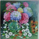 Hydrangea Still Life Original Oil Painting Hortensia Impression Bindweed Fine Floral Art EU Artist