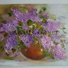 Lilacs Original Oil Painting Still Life Impasto Purple Flowers Impression Linen Textured Vase EU Art