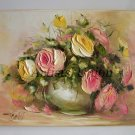 Yellow Pink Roses Original Oil Painting Impasto Impression Still Life shabby Bouquet Europe Artist