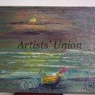 Seascape Original Oil Painting Boat Impasto Beach Shore Sunset Textured Palette Knife Art EU Artist