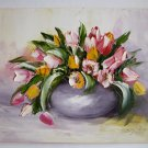 Tulips Impasto Original Oil Painting Still Life shabby chic tone Textured Art Bouquet Pink EU Artist