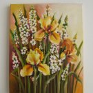 Irises Original Oil Painting Yellow White Wild Flowers Meadow Iris Delphinium Fine Art Europe Artist