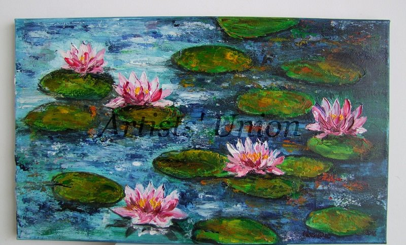 Pink Water Lilies Original Oil Painting Impasto Palette
