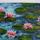 Pink Water Lilies Original Oil Painting Impasto Palette Knife Textured Flowers Impression EU Artist