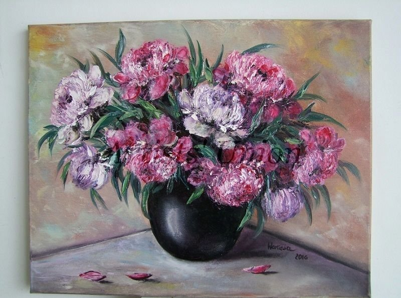 Peonies Original Oil Painting Impasto Still Life Purple Pink Bouquet Palette Knife Flowers EU Artist