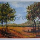 Autumn Landscape Original Oil Painting Impressionist Fall Trees Fields Delicate Textured Countryside
