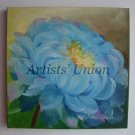 Blue Peony Original Oil Painting, Flower Fine Art, Impressionist, Mother's Day Gift, EU Artist Offer