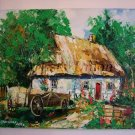Cart Original Oil Painting Cottage Impasto Impression Textured art Linden Tree Farmhouse Countryside