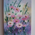 Pink Daisies Original Oil Painting Impasto Wild Flowers Meadow Impressionist Textured Palette knife