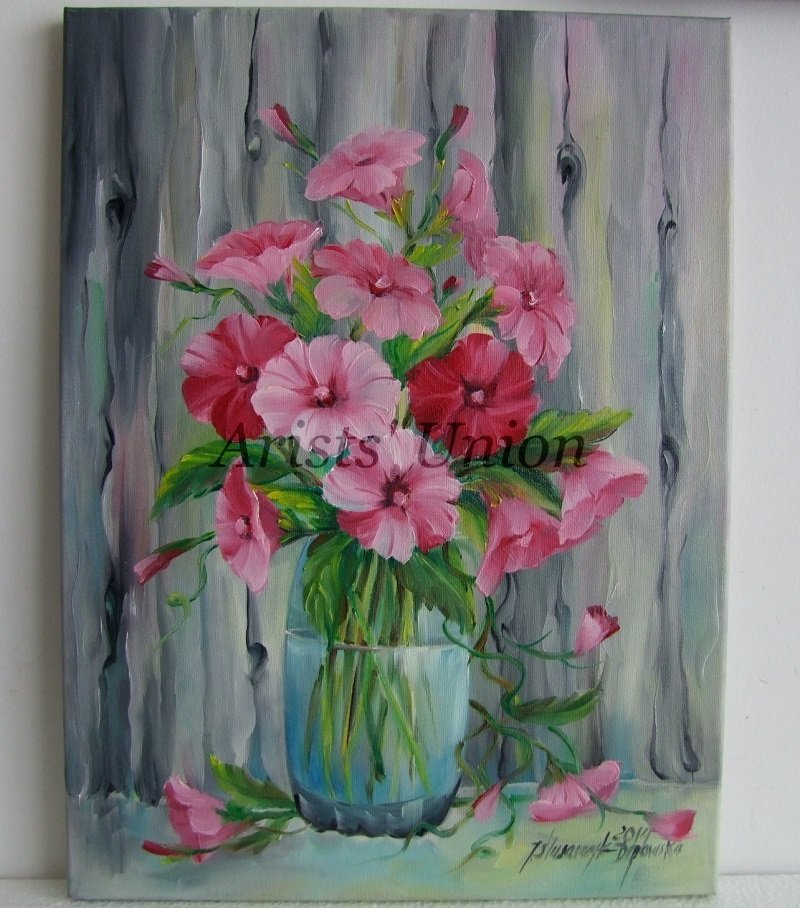 Bindweed Original Oil Painting Pink Flowers Still life ...