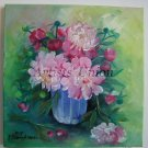 Peonies Original Oil Painting Pink Bouquet Still life Impression Flowers Fine Art Blue Glass Vase