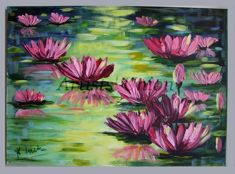 Water lilies original oil painting pink flowers impasto water lilies original oil painting pink flowers impasto impressionist landscape lake eu artist offer mightylinksfo