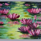 Water Lilies Original Oil Painting Pink Flowers Impasto Impressionist Landscape Lake EU Artist Offer