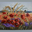 Meadow Original Oil Painting Red Poppies Impasto 28 inch Palette knife art Impressionist EU Artist