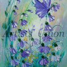 Butterfly Original Oil Painting Wild Purple Flowers Meadow Impasto Palette Knife Textured Art