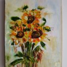 Sunflowers Original Oil Painting Impasto Palette knife Textured Art Yellow Orange Impression Linen