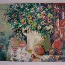 Still life Original Oil Painting Pomegranate Flowers Fruits Vine Glass Bottle Linen Modern Fine Art