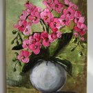 Pink Orchids Original Oil Painting Still life Palette Knife Textured Modern Art Impasto Wild Flowers