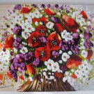 Modern Bouquet Original Oil Painting Red Poppies Palette knife Impasto Art Still Life Wild Flowers