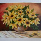 Sunflowers Original Oil Painting Still Life Canvas on Wooden Panel Vase Yellow Wild Flowers Bouquet