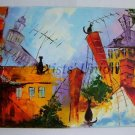Cats Original Oil Painting Cityscape Impasto Town Roofs Palette Knife Fantasy Kids Children Art