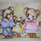 Nursery Art Original Acrylic Painting Teddy Bear Family Kids shabby chic Pink Blue Children Fantasy