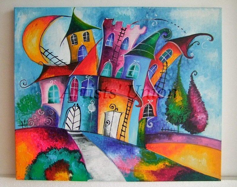 Original Acrylic Painting Magic City Moon Kids Art Fairy Tale Cityscape, EU Artist, Baby Shower Gift