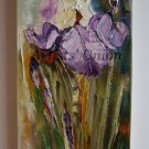 Irises Impasto Original Oil Painting Wild Flowers Palette Knife Purple Floral Art Iris Impression