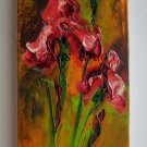 Irises Red Original Oil Painting Impasto Floral Art Wild Flowers Palette Knife Iris Garden Textured