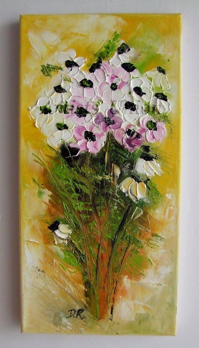 Original Oil Painting Anemones White Flowers Palette Knife Impasto Art Floral Textured Impression