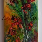 Rowan Original Oil Painting Mountain Ash Flower Sorbus Impasto Floral Palette knife Textured Art Red