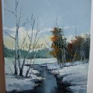 Winter River Original Oil Painting Landscape Forest Palette Knife Fine art Impasto Snow Trees Blue