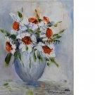 White Flowers Original Oil Painting Still life Palette knife Impasto Impression Linen Canvas Vase