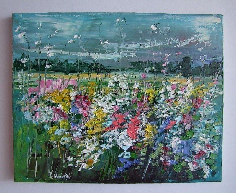 Meadow Original Oil Painting Modern Colorful Wild Flowers Impasto Textured Art Impressionist Linen