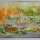 Water Lilies Original Oil Painting Lake Landscape Flowers Impasto Linen Canvas Impression Orange