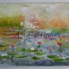 Water Lilies Original Oil Painting Pink Flowers Impasto Lake Impression Landscape Linen Canvas