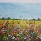 Summer Meadow Original Oil Painting Landscape Impasto Red Poppies Palette Knife Art Wild Flowers