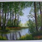 Landscape Birch Trees Original Oil Painting Forest River Impasto Countryside Green Glade Spring Fine