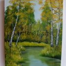 Landscape Forest River Original Oil Painting Impasto Trees Green Yellow Lake Fine Season Impression