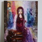 Angel Girl Cityscape Original Oil Painting Impasto Fantasy Portrait Symbolism Flower Palette Knife
